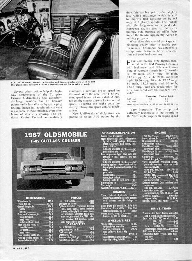 1967 OLDSMOBILE Cutl Supreme Turnpike Cruiser 400 on